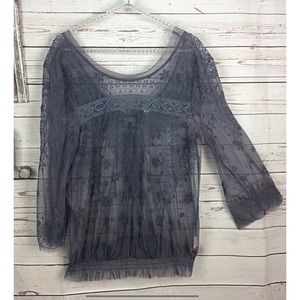 Free people Sheer lace detail with floral stitch
